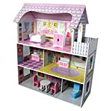 Dollhouse Dream Mansion 3 Story Play House with Furniture for Barbie