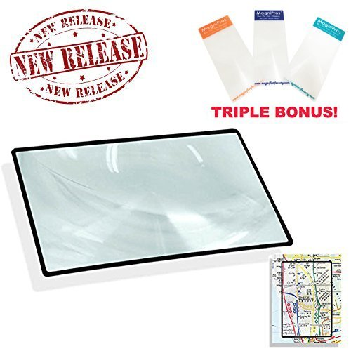 Premium 3X (300%) Page Magnifing Lens With 3 Bonus Bookmark Magnifiers for