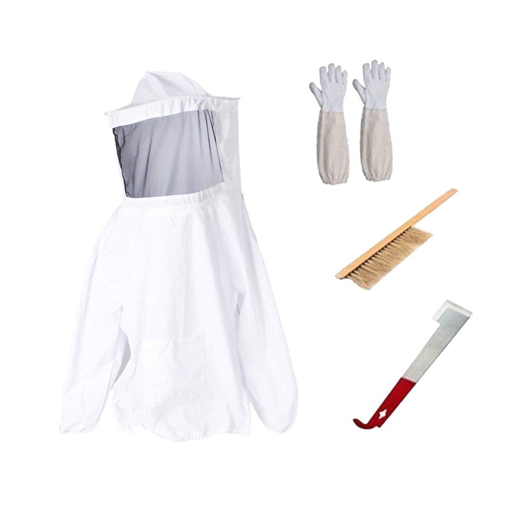 MagiDeal Kit 4pcs de Costume Apiculteur + Gants avec Manches Longues Ventilées de Protection +Brosse à Abeille Équipement de Protection Professionnel Anti Abeille pour Apiculture