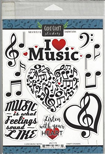 I Love Music Notes Cardstock Scrapbook Stickers (61173)