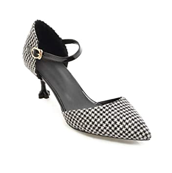 Closed Tacón Kitten Pointed De Toe Heels Zapatos Medio Vestido PxUUqw5Y