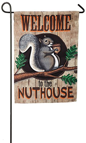 the Nuthouse Suede Garden Flag, 12.5 x 18 inches (Welcome Nuthouse)
