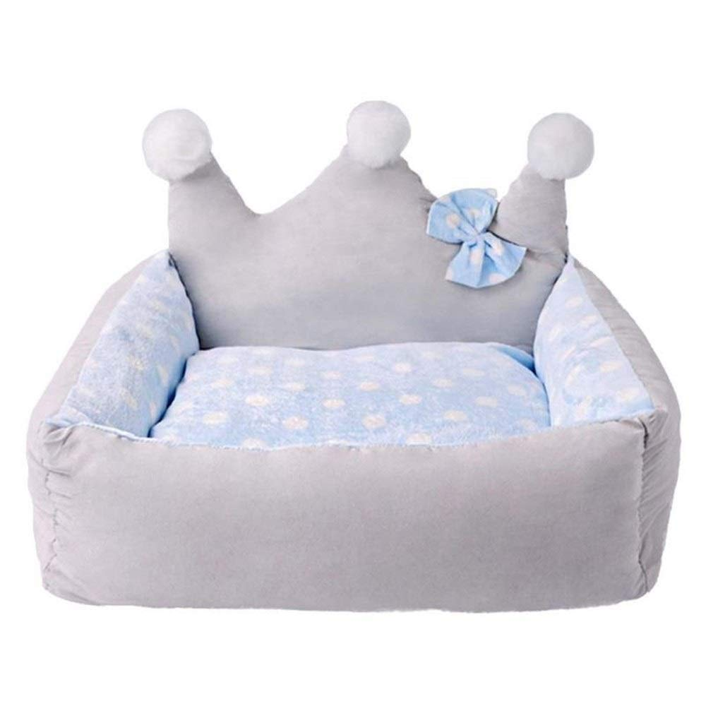 bluee 50x45x20cm bluee 50x45x20cm SHYPwM Hot Pet Nest Crown Shape Kennel Removable Washable Fashionable Full and Fluffy Fashionable Breathable Warm Soft Hand Feel (color   bluee, Size   50x45x20cm)