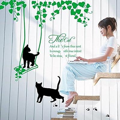 Negro Gatos swing Inglés Cartas Verde Hojas pared adhesivo para el ...