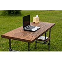 Reclaimed Wood Desk Table - Rustic Solid Oak W/ 28 Black Iron Pipe legs.