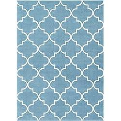 Daisy Lattice Blue Moroccan Trellis 5 x 7 (5' x 7'2'') Area Rug Modern Geometric Carpet