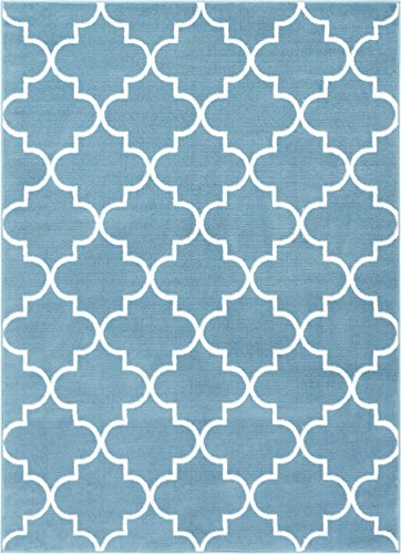 Well Woven DU-24-4 Dulcet Elle's Lattice Modern Geometric Trellis Blue Area Rug 3'3
