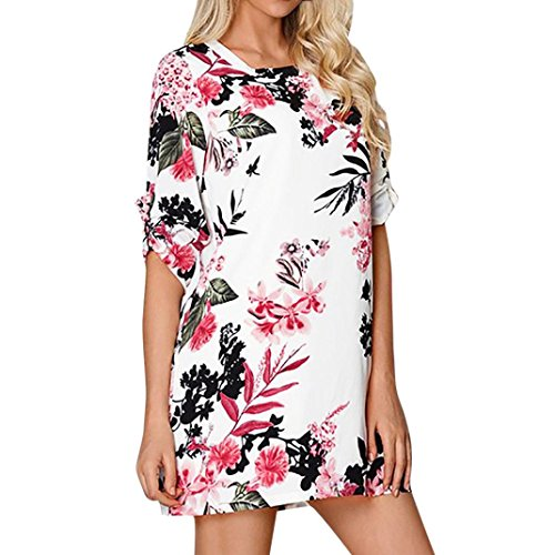 Mini Dresses, FORUU Womens Floral Printed Bowknot Sleeves Cocktail Casual Party