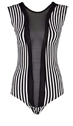 ca78ca3b43 Comfiestyle New Ladies Half Mesh Style Black and White Stripe Bodysuit  Womens Sleeveless Top. UK