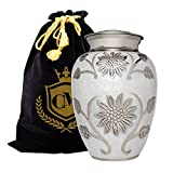 Floral Elegance - 100% Brass Burial or Funeral Adult Cremation Urn for Human Ashes - Adult, Large (White, Large)