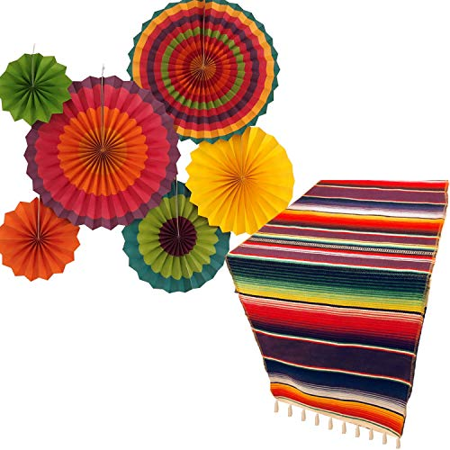 Jelda's Fiesta Party Supplies | Mexican Party Decorations | Theme Decor for Wedding, Birthday, Cinco De Mayo, Coco, Taco, etc. | Serape Table Runner | Colorful Paper Fans ()