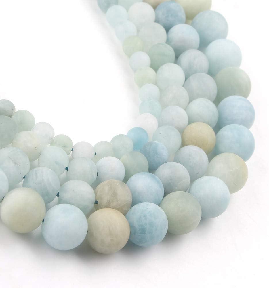 Song Xi Matte Aquamarine Beads 8mm Natural Stone Beads for Jewelry Making 15inch Gemstone Beads