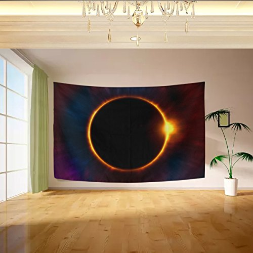 Vipsk solar eclipse Tapestry Wall Hanging Artistic Polyester Fabric Cottage Dorm Wall Art Home Decoration 60x40 inches black Wall decoration (Vancouver Curtains Cheap)