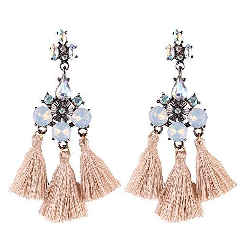 Golden Brown Earring (Handmade Ethnic Bohemian Long Thread Tassel Earrings Brown Crystal Cubic Zirconia Dangle Earrings for Women Girls Opal Earrings Party Fashion Accessories)