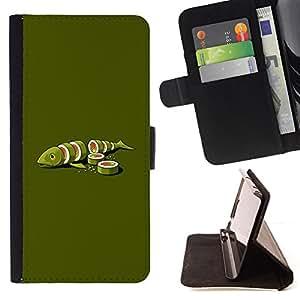 For Samsung Galaxy Note 5 5th N9200,S-type Pesce verde Food Art Maki Arte Minimalista - Dibujo PU billetera de cuero Funda Case Caso de la piel de la bolsa protectora