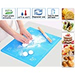 "Silicone Baking Mat with Measurements – Heat Resistant, BPA Free, Non-Stick Pastry Mat for Rolling Dough – Easy to Clean… 11 MAKES BAKING EASY AND FUN: Make your time in the kitchen more productive and fun with our pastry mat. It is amazingly flexible and stick resistant, you will not even need to use grease to get your baked dishes off it. Just what you need to bake like a pro. VERSATILILE USES: Our pastry mats can be used as a countertop protectors,table mats, or dinner mats. Ideal for kneading,baking,cooking,dough rolling,shaping bread rolls. They can also be used to prepare pizza,pastas, pie crusts, fondants and so on. KEEPS YOUR WORKTOP GOOD AS NEW: Baking is almost always a messy business,but not anymore. Aurora Gadgets silicone baking mat gives you a large 15.5""x 19.6""surface to do all your kneading,rolling,and shaping, keeping your worktop clean and good as new"