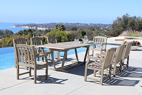 Renaissance 9-Piece Outdoor Hand-Scraped Hardwood Dining Set with Rectangle Extension Table and 8 Arm Chairs