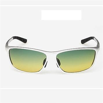KANGLE Gafas De Sol De Día Y De Noche De Doble Uso Marco De Plata Gafas