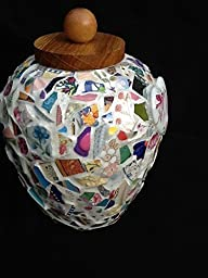 Memorial Urn Mosaic Vase for Mother, Hummingbird, Flowers, Sympathy