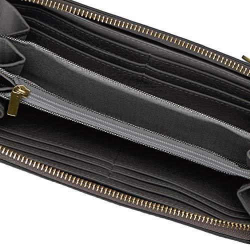 Fossil Women's Logan Leather RFID-Blocking Zip Around Clutch Wallet with Wristlet Strap 5