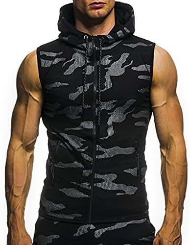 ZEFOTIM Men's Summer Casual Camouflage Print Hooded Sleeveless T-Shirt Top Vest Blouse