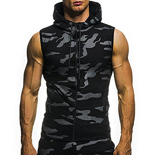 Mens Updated Camo Slim Fit Tank Top Hoodie Workout Zip-Up Sleeveless Vest with Pocket (XXXL, Black)