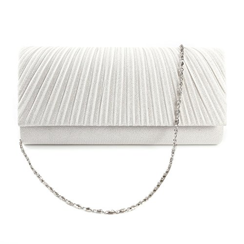 (Honeycomb Designed Sparkle Glitter Evening Clutch Bag Bridal Wedding Handbag (White))