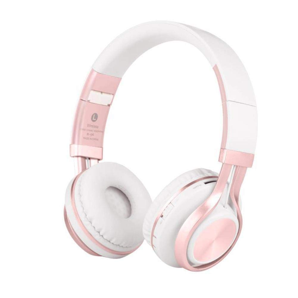 Noise Isolation Wireless Bluetooth Foldable Over Ear Headphones, Lightweight Bass Surround Sound Waterproof Laptop Sport Earphones-Pink