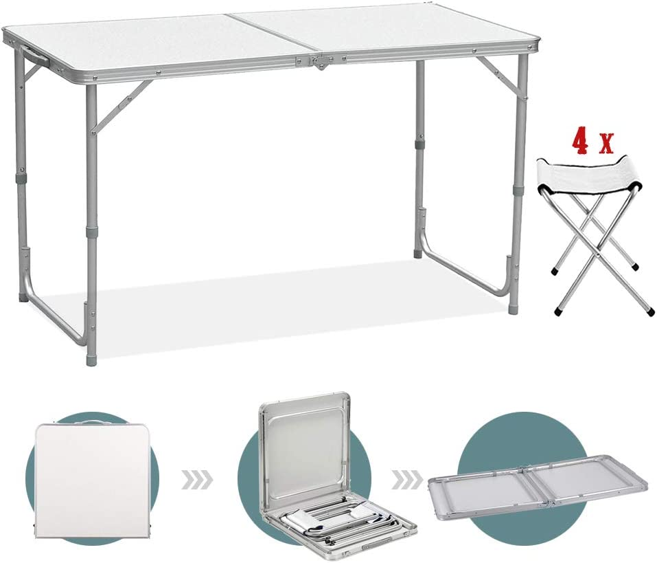 Sunreal Mesa de Camping Plegable de 122 cm, Altura Ajustable, Ultraligera, Durable, para jardín, Fiesta, Barbacoa, Trabajo o Trabajo en casa, Mesa Plegable con taburetes, Interior y Exterior