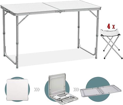 Sunreal Mesa de Camping Plegable de 122 cm, Altura Ajustable ...