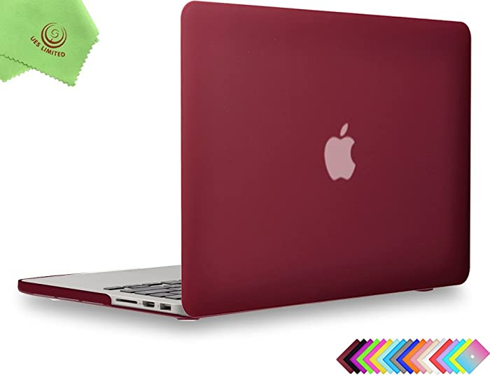 UESWILL Matte Hard Shell Case Cover for MacBook Pro 13 inch with Retina Display (No CD-ROM, No USB-C) (Model: A1502/A1425, Version Early 2015/2014 / 2013 / Late 2012), Wine Red