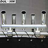 Dolphin 5 rod holder/fishing console boat t top rocket launcher anodized