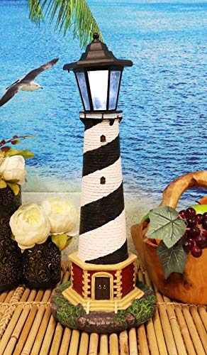 "Ebros Nautical Scenic Cape Hatteras Lighthouse Statue 20.5"" Tall with Solar Powered Lantern LED Light Patio Decor Indoor Outdoor Figurine Beacon of Hope"