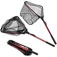 "ENKEEO Foldable Fishing Net Triangular Landing Net with Aluminum Pole and Nylon Mesh, 14.6"" Wide"