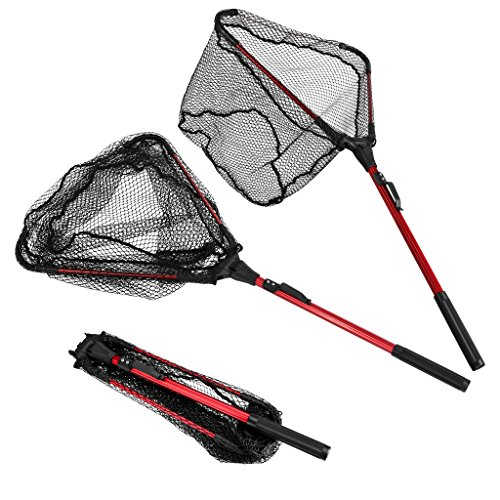 ENKEEO Foldable Fishing Net Triangular Landing Net with Aluminum Pole and Nylon Mesh, 14.6