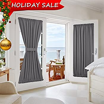 Grey French Door Curtains   Blackout Patio Door / Glass Door Curtain Panel  For Privacy By NICETOWN (One Piece, W54 X L72 Inch, Grey)