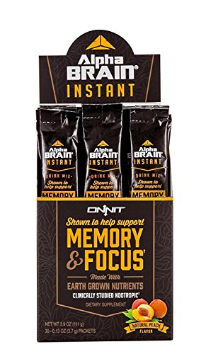 Onnit Alpha Brain Instant | Nootropic Drink Mix Clinically Studied to Support Memory, Focus, and Processing Speed | Natural Peach - 30 Packets