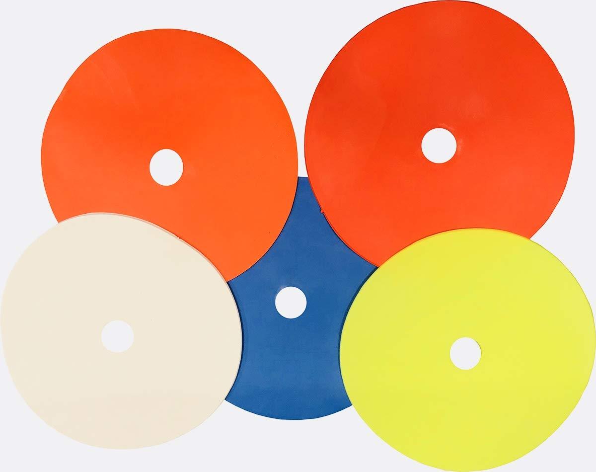 Set of 50 Flat Rubber Disc Spot Markers Cones 6'' Diameter Carry Bag