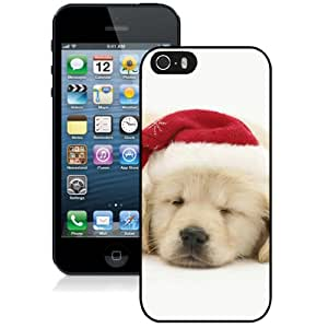 Cute Puppy In Christmas Hat Durable High Quality iPhone 5S Phone Case