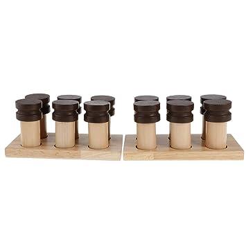 perfeclan Botella cilíndrica Caja de Madera Montessori Material Olor Perfume sensorial Juegos educativos