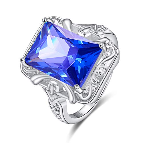 PAKULA Silver Plated Women Emerald Cut Simulated Blue Sapphire Quartz - Band Diamond Wedding Hammered