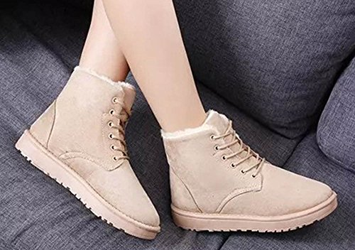 Round Lace Women's Beige Warm Platform Boots Toe Snow Flats Comfy Aisun Shoes Up Ankle tqYwgg
