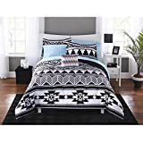 DOS 6pc Black White Southwest Comforter Twin XL Set, Aztec Tribal Bedding Stripes Bohemian Indian Themed Native American Medallion Pattern, Teal Sheets Polyester
