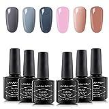 Beauty : Lagunamoon Gel Nail Polish Set,Multi-Colours Grey Pink Nude Manicure Set Soak Off UV LED Gel Nail Polish Requires Drying Under Nail Lamp,8mL Each Bottle