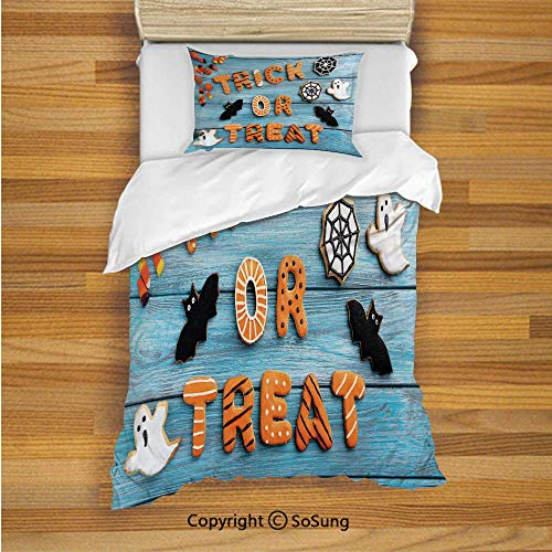 Halloween Kids Duvet Cover Set Twin Size, Fresh Trick or Treat Gingerbread Cookies on Blue Wooden Table Spider Web Ghost Decorative 2 Piece Bedding Set with 1 Pillow Sham,Multicolor ()