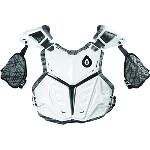 SixSixOne Prodigy Wired Adult Roost Deflector Off-Road/Dirt Bike Motorcycle Body Armor - White / Large - Impact Roost Deflector