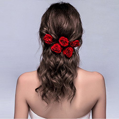 ClassicBeauty Elegant Red Rose Bridal Hair Clips (Set of 4) New 2017 Wedding Women and Girls Hair Accessories Bridesmaids (Luau Hairstyles)
