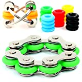 Stress Reducer - Roller Chain Stress Reducer Fidget Toys Set for Sensory Kids & Adults - Flippy Chain Toy with 6 Customizable Colors Included - Anxiety Fidget Toys / ADHD Fidget Toys