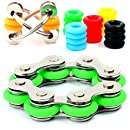 Fidget Toys for Sensory Kids Set - Roller Chain Fidget Toy + Flippy Chain Stress Reducer + 20 Silicone Rings - 6 Customizable Colors for Flippy