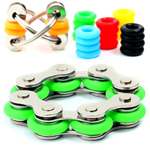 BlastCase Fidget Toys for Sensory Kids Set - Roller Chain Fidget Toy + Flippy Chain Stress Reducer + 20 Silicone Rings - 6 Customizable Colors for Flippy